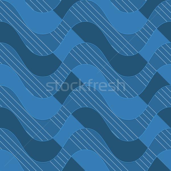 Retro 3D blue waves with dark blue parts Stock photo © Zebra-Finch