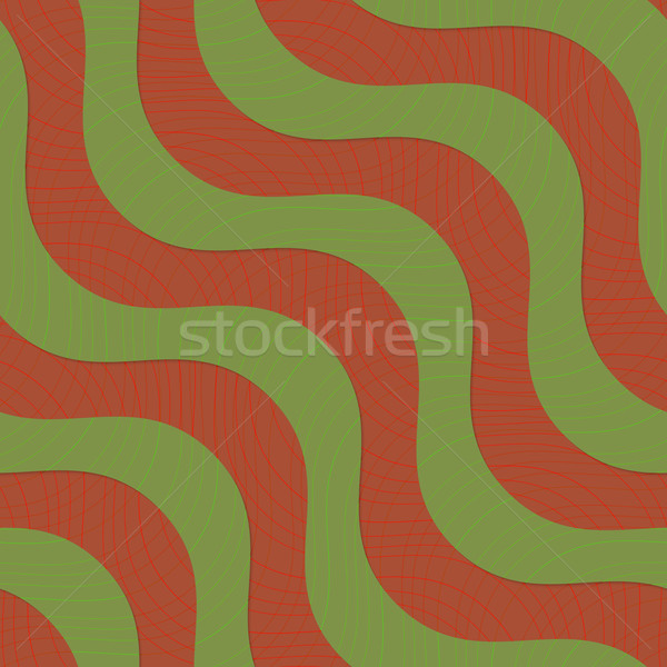 Retro 3D verde marrón diagonal olas Foto stock © Zebra-Finch
