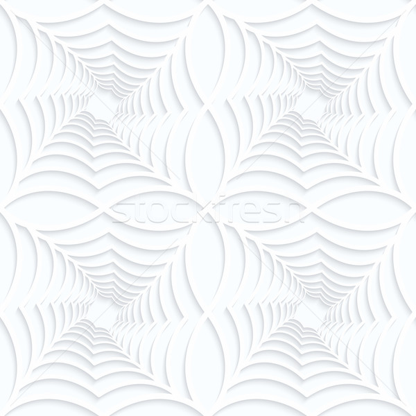 Quilling white paper twisted spider webs in row Stock photo © Zebra-Finch