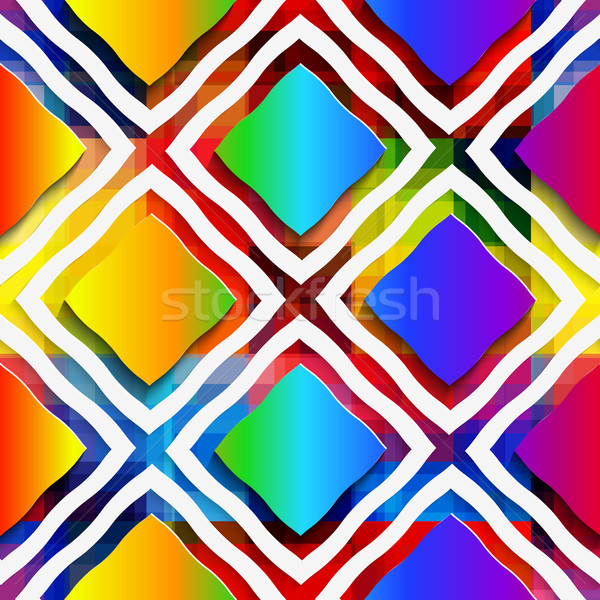Rainbow colored rectangles and rim on rainbow seamless pattern Stock photo © Zebra-Finch