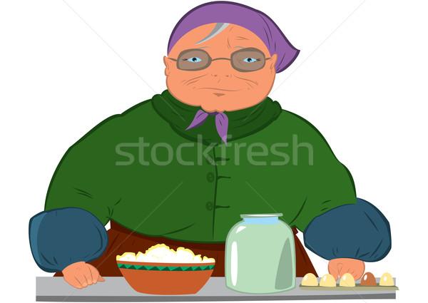 Cartoon vieja púrpura sombrero ilustración femenino Foto stock © Zebra-Finch