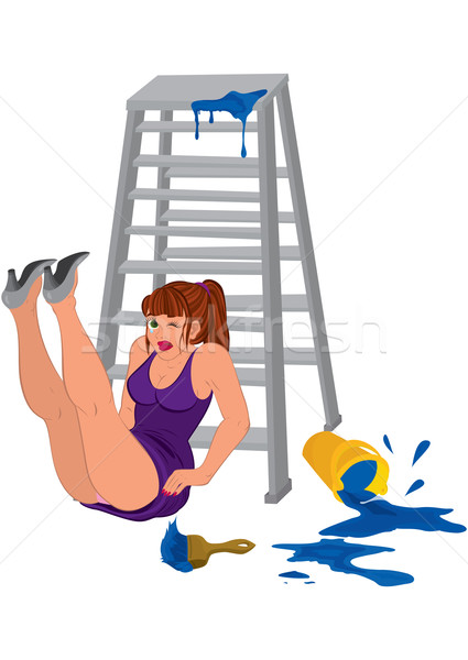 Cartoon woman in purple dress legs up near the ladder Stock photo © Zebra-Finch