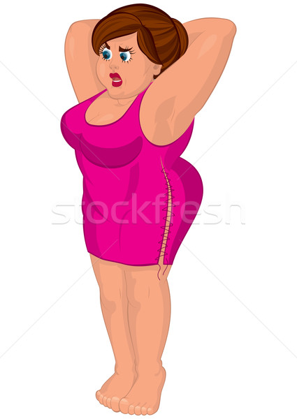 Cartoon young fat woman in pink dress barefoot Stock photo © Zebra-Finch