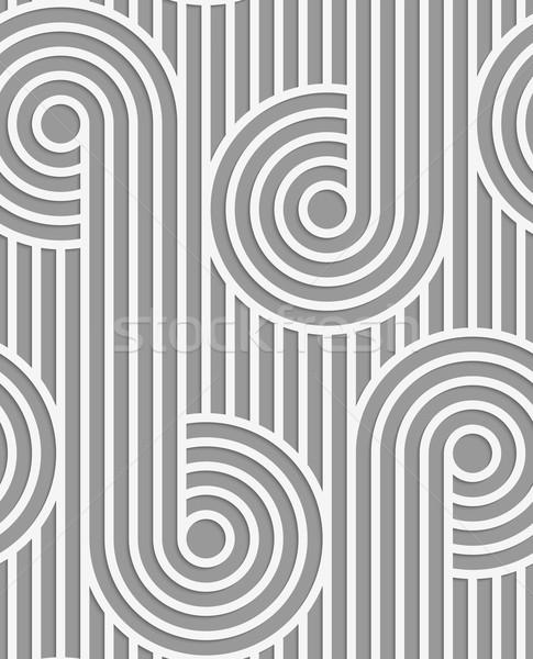 Papír kivágás körök csíkok fehér szürke kivágás Stock fotó © Zebra-Finch
