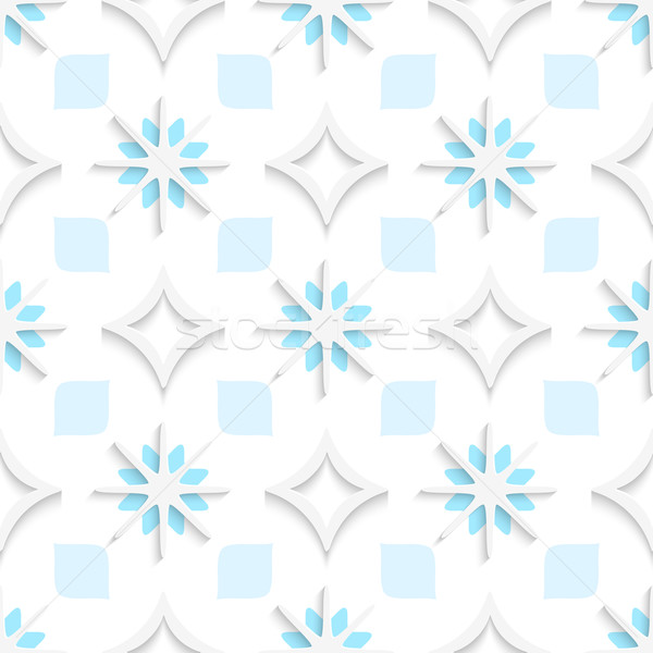 White pointy rhombuses with blue and white snowflakes seamless Stock photo © Zebra-Finch