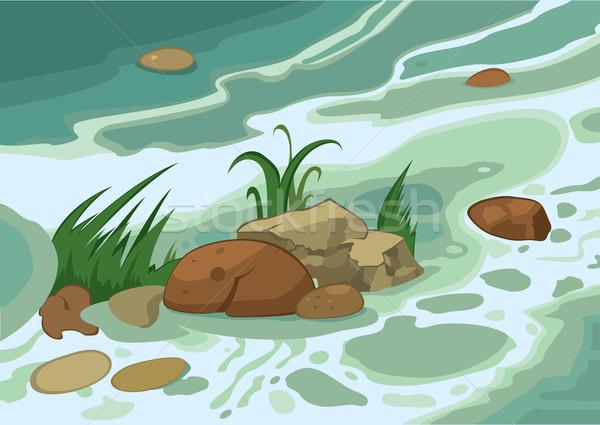 Cartoon grass stones and brook Stock photo © Zebra-Finch