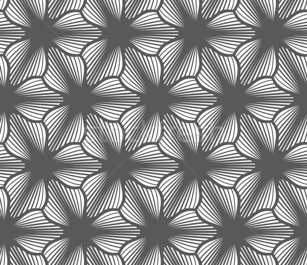 монохромный полосатый черный три цветы бесшовный Сток-фото © Zebra-Finch