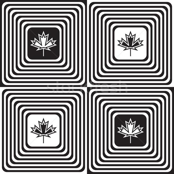 Bianco nero piazze acero foglie geometrica Foto d'archivio © Zebra-Finch