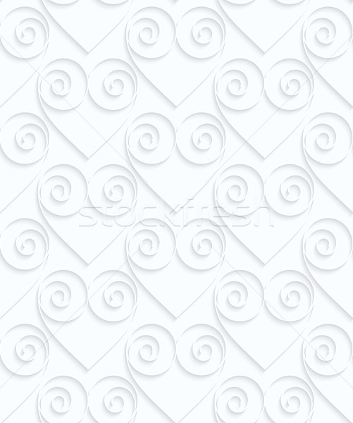 Quilling white paper hearts with swirls in row Stock photo © Zebra-Finch