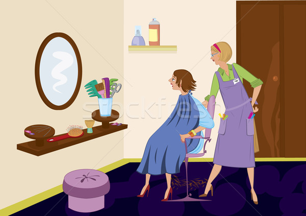 Beauty salon brunet looking in the mirror after hair cut Stock photo © Zebra-Finch