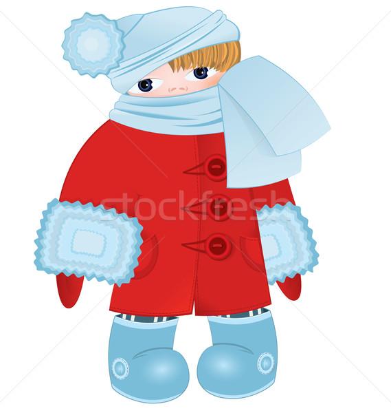 Rajz gyerek piros vektor áll tél Stock fotó © Zebra-Finch