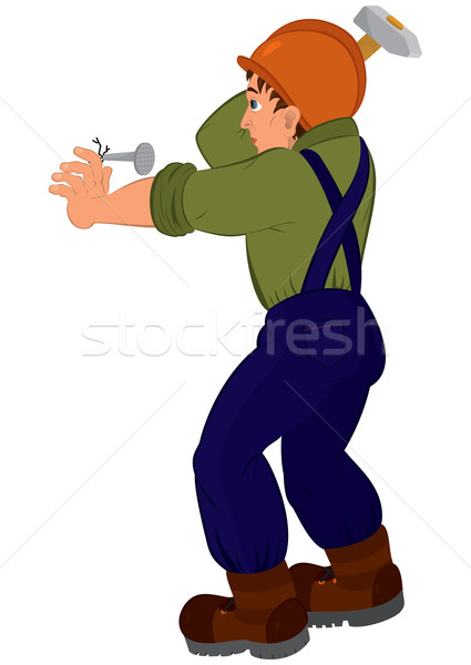 Cartoon man in constructor uniform and hard hat hitting nail wit Stock photo © Zebra-Finch