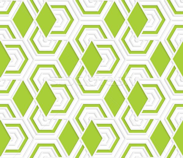 Színes 3D zöld gyémántok végtelenített mértani Stock fotó © Zebra-Finch