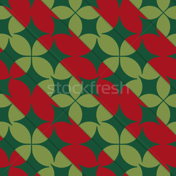 Retro 3D bright green and red with pointy four foils Stock photo © Zebra-Finch