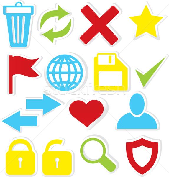 Internet pictogrammen prullenbak stickers geïsoleerd witte Stockfoto © Zebra-Finch