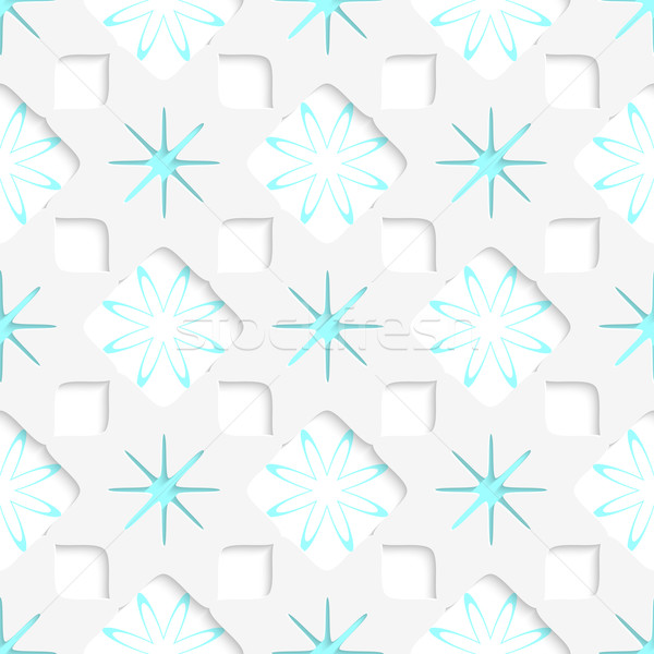White snowflakes with blue inner parts seamless Stock photo © Zebra-Finch