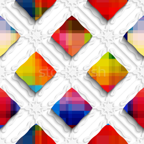 Rainbow colored rectangles on white ornament seamless pattern Stock photo © Zebra-Finch