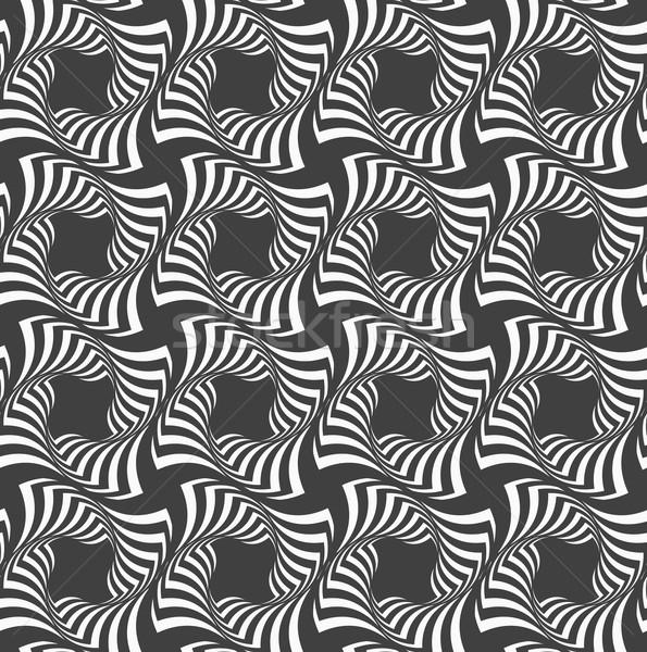 Alternating black and white wavy striped crosses in row Stock photo © Zebra-Finch