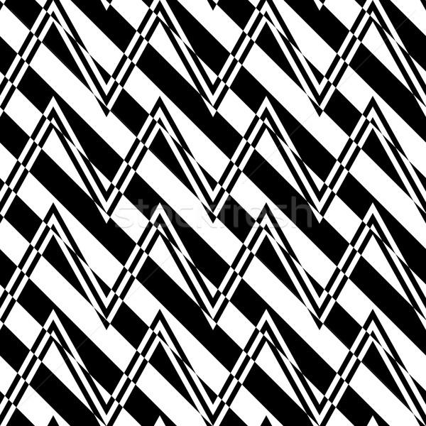 Siyah beyaz zikzak diyagonal kesmek şık geometrik Stok fotoğraf © Zebra-Finch