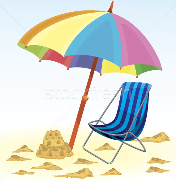 Foto stock: Guarda-sol · cadeira · viajar · castelo