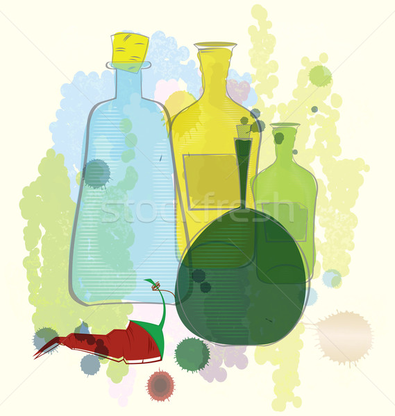 Water color bottles and red pepper vector Stock photo © Zebra-Finch