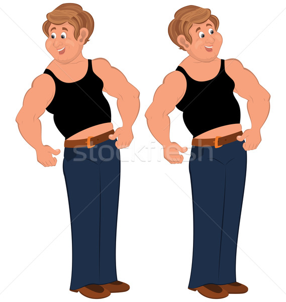 Happy cartoon man standing in sleeveless top Stock photo © Zebra-Finch