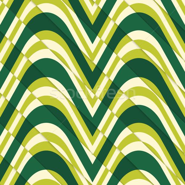 レトロな 3D 薄緑 波 カット レイヤード ストックフォト © Zebra-Finch