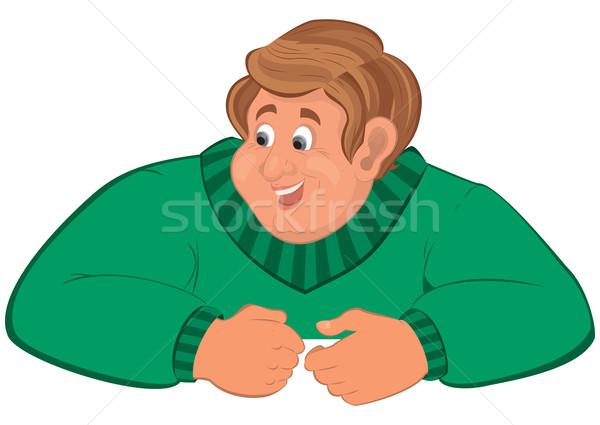 Felice cartoon uomo torso verde maglione Foto d'archivio © Zebra-Finch