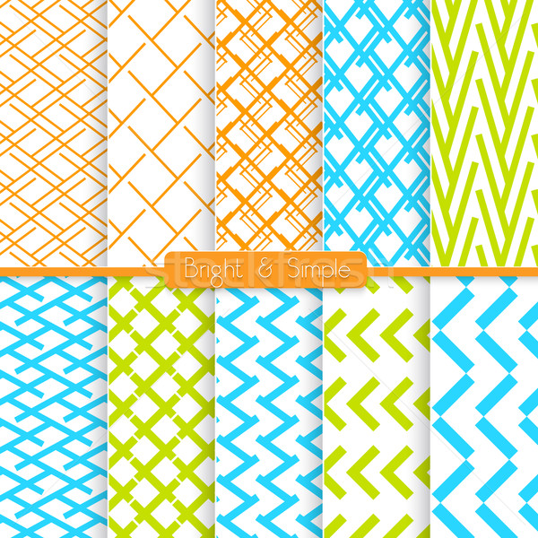 Bright and simple orange blue and green pattern set Stock photo © Zebra-Finch