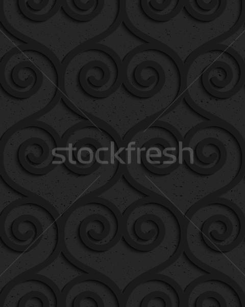 Black textured plastic swirly hearts in slim grid Stock photo © Zebra-Finch
