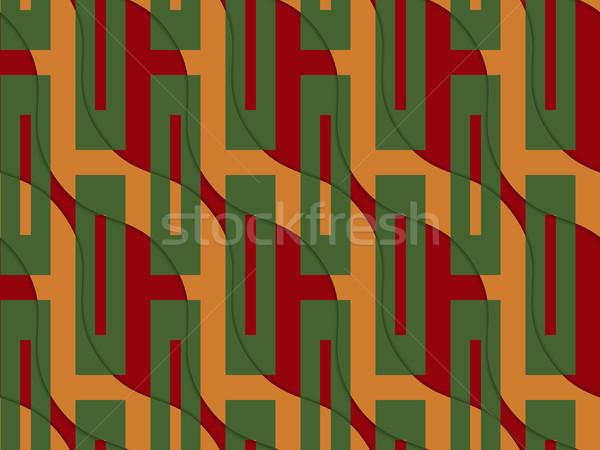 Retro 3D narancs piros hullámos zöld Stock fotó © Zebra-Finch