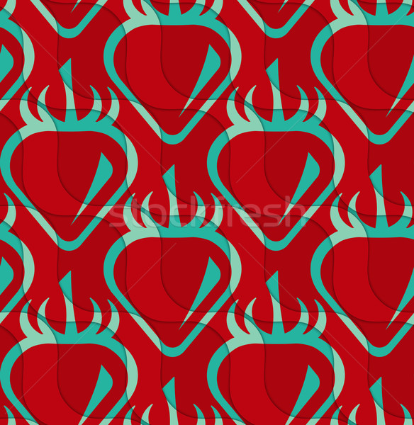 Retro 3D red and green wavy cut strawberry Stock photo © Zebra-Finch