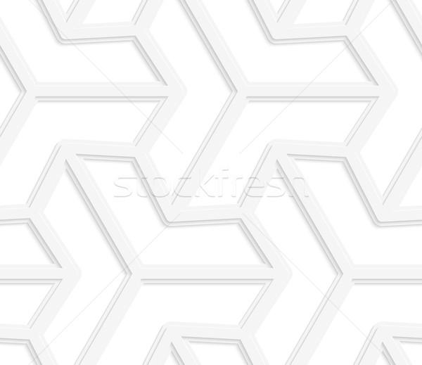 3D white three ray hexagonal stars Stock photo © Zebra-Finch