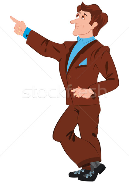 Cartoon man in brown suit pointing with index finger Stock photo © Zebra-Finch