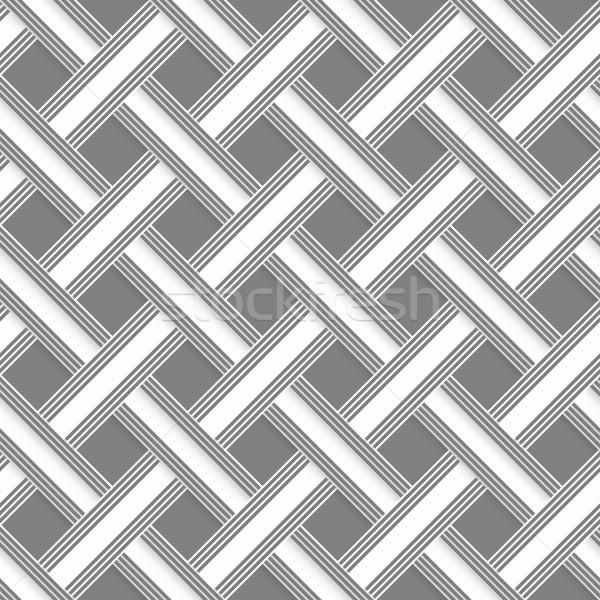 Stock photo: Geometrical pattern with gray beveled lattice