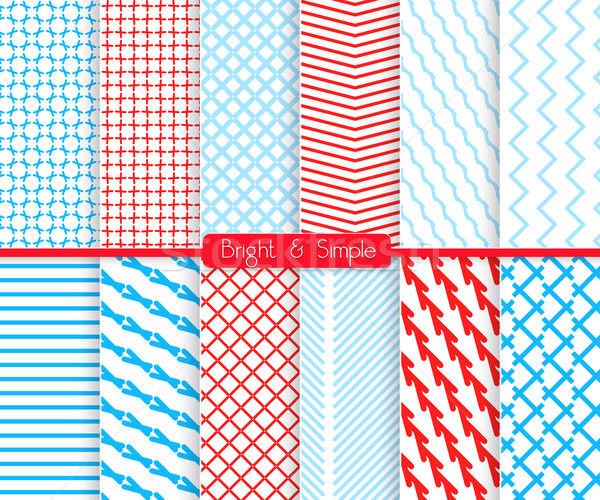Bright and simple red and shades of blue pattern set Stock photo © Zebra-Finch