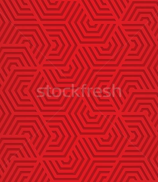 Rojo a rayas geométrico 3D Foto stock © Zebra-Finch