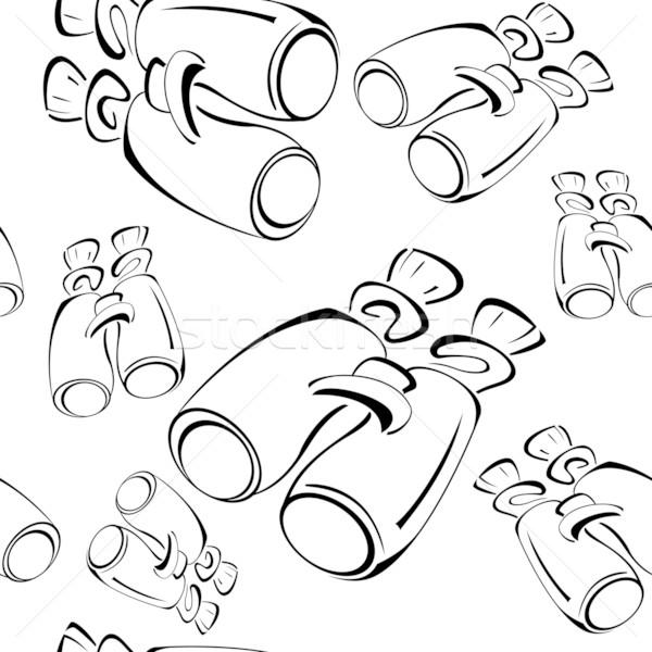 Stockfoto: Zwart · wit · contour · verrekijker · naadloos · vector