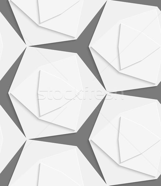 Fehér formák réteges végtelen minta absztrakt 3D Stock fotó © Zebra-Finch