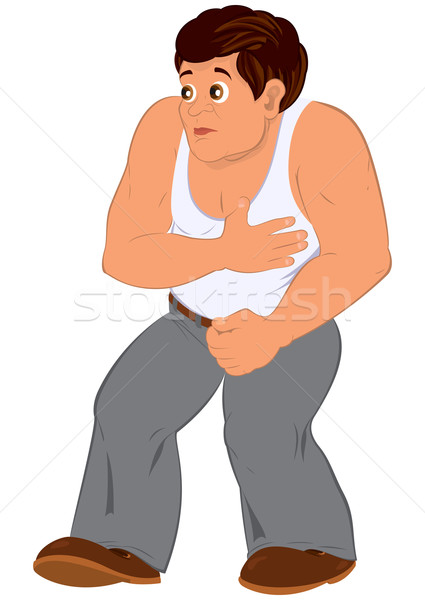 Cartoon man in white sleeveless top walking Stock photo © Zebra-Finch