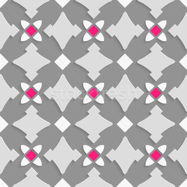Mértani dísz szürke rózsaszín négyzetek végtelenített Stock fotó © Zebra-Finch