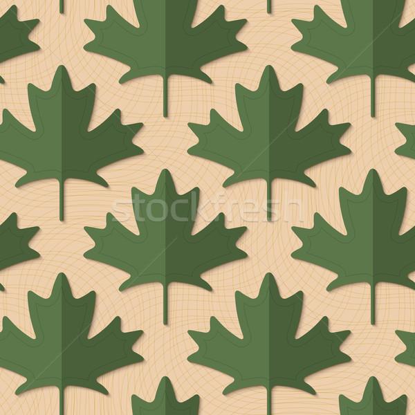 Retro fold deep green maple leaves Stock photo © Zebra-Finch