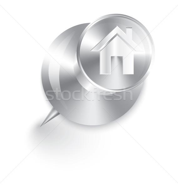 Otthon ikon fém lökés tő vektor Stock fotó © Zebra-Finch