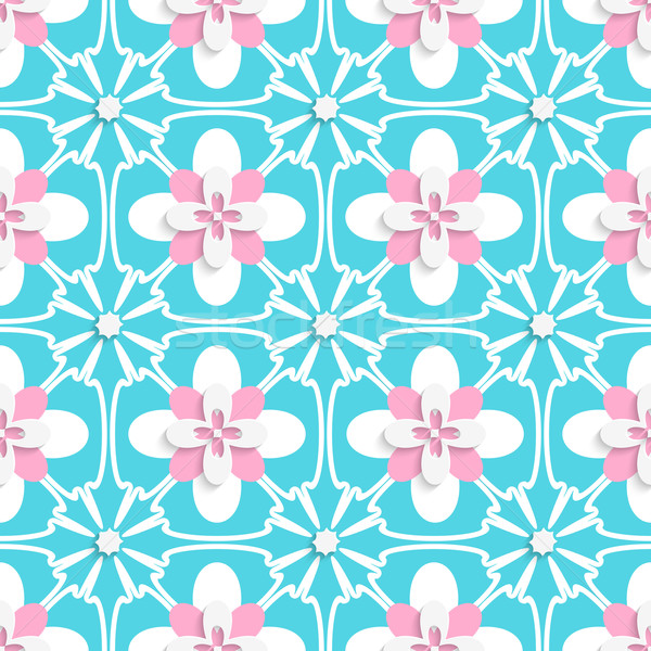 Floristic turquoise and pink tile ornament Stock photo © Zebra-Finch