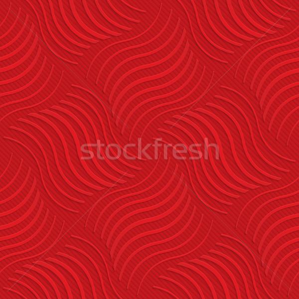 Kırmızı çizgili dalgalı kareler çevirmek geometrik Stok fotoğraf © Zebra-Finch