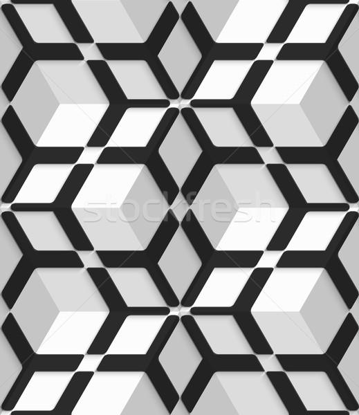 White 3d cubes with hexagonal net on seamless pattern Stock photo © Zebra-Finch