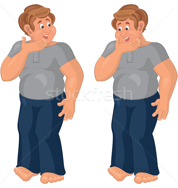 Happy cartoon man standing in blue pants barefoot Stock photo © Zebra-Finch