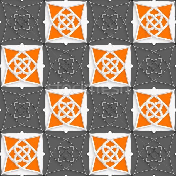 Geometryczne arabski ozdoba szczupły drutu pomarańczowy Zdjęcia stock © Zebra-Finch