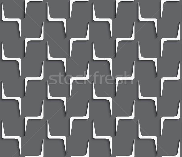 Geometrical ornament with white zig-zag shapes on dark gray Stock photo © Zebra-Finch