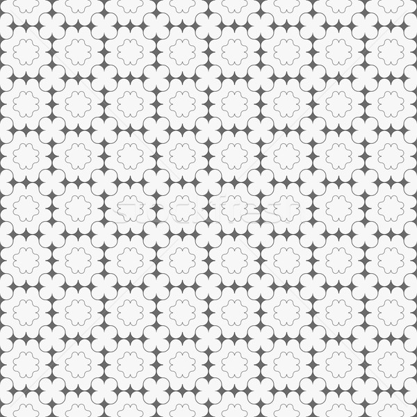 Gray ornament with dark gray pointy squares and clover shapes Stock photo © Zebra-Finch